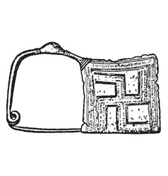 Brooch have a type greek geometric fibula vector