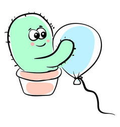 cactus hugging balloon on white background vector image