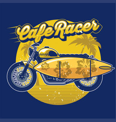 Cafe racer with surf board in design summer vector