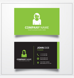 Call center woman icon business card template vector