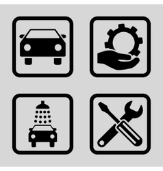 Car Service Flat Squared Icon vector image