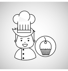 Cartoon chef gourmet sweet cup cake vector