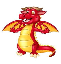 Cartoon cute red dragon isolated vector