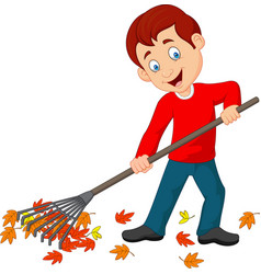 Cartoon happy boy raking leaves vector