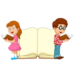 Cartoon kids reading book with giant book backgrou vector image