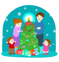 cartoon of a happy family at the christmas tree vector image