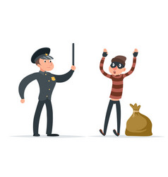 Caught thief surrender loot policeman character vector