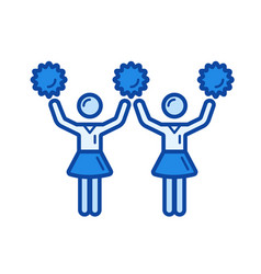 Cheerleading line icon vector