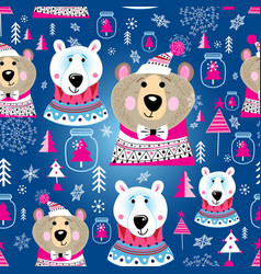Christmas pattern with portraits bears vector