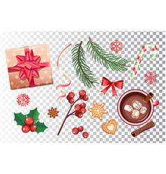 christmas set for holidays vector image