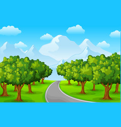 city park with road and town buildings vector image
