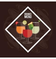Cocktail leaf lemon orange olive glass icon vector
