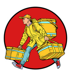 Courier boy food delivery vector
