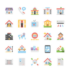 creative flat icons set of real estate vector image