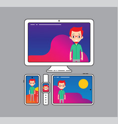 Cross-platform app cross platforming devices vector