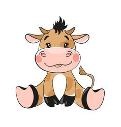 Cute cartoon bull flat design baby bull symbol vector