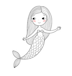 Cute cartoon little mermaid siren sea theme vector