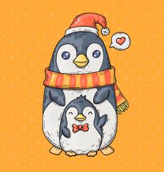 Cute cartoon penguins cartoon in vector