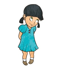 Cute shy cheerful little girl in blue dress vector image