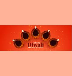 decorative diya design for diwali festival banner vector image