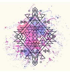 Decorative ethnic pattern with watercolor splash vector