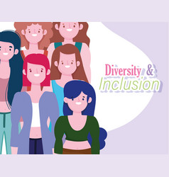 diversity and inclusion women portrait character vector image