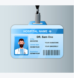 doctor id card template medical identity badge vector image