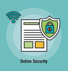 document online security padlock graphic vector image
