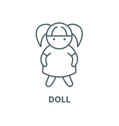 doll line icon linear concept outline vector image