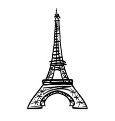 doodle black eifel tower hand drawn vector image