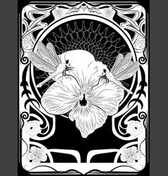 dragonfly art nouveau frame vector image