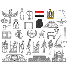 egyptian gods landmarks and religion symbols vector image