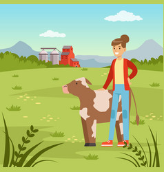 farmer woman standing wiyh cow agriculture and vector image vector image