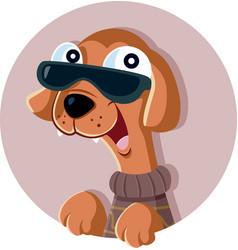 fashion dog cartoon vector image