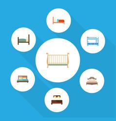 Flat mattress set of bearings cot bedroom and vector