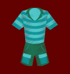 Flat shading style icon shorts and polo shirt vector