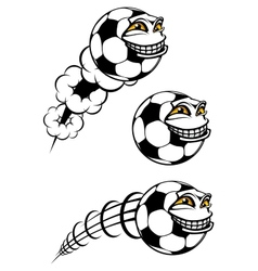 Flying cartooned soccer or football ball vector image