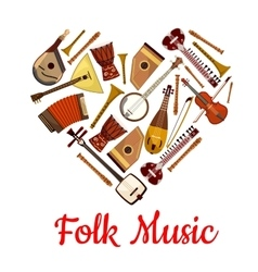 Folk music heart emblem musical instruments vector