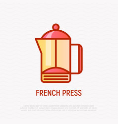 french press thin line icon modern vector image