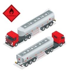 Fuel gas tanker truck isometric vector