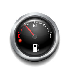 fuel gauge round white gauge with chrome frame vector image