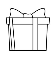 gift box icon black and white vector image