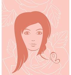 girl face portrait on rose background vector image