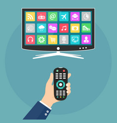 hand holding remote control and watch smart tv vector image