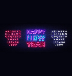 happy new year neon text neon sign vector image