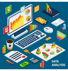 Isometric data analysis set vector image