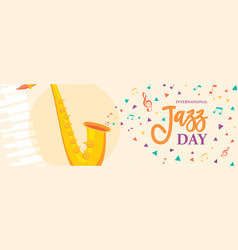 jazz day banner of saxophone music instrument vector image