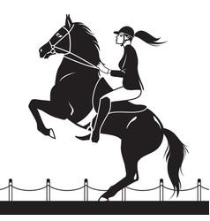 jockey riding a horse shows jumping vector image