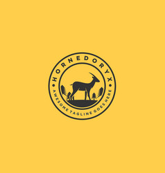 logo horned deer vintage badge vector image
