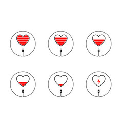 love charger heart battery icon vector image